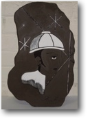 image of workman star background black clay white decoration