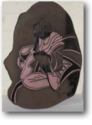 image of female studying on black clay with pink and black decoration